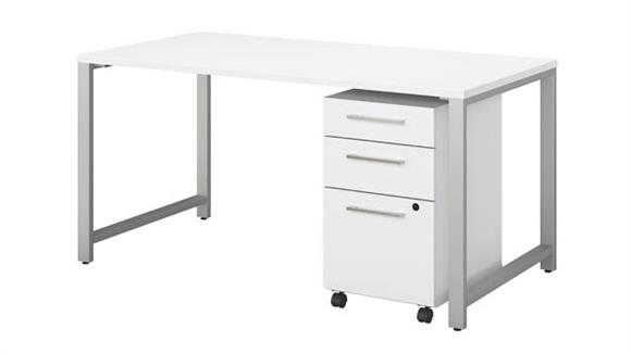 "Computer Desks Bush Furniture 60""W x 30""D Table Desk with 3 Drawer Mobile File Cabinet"