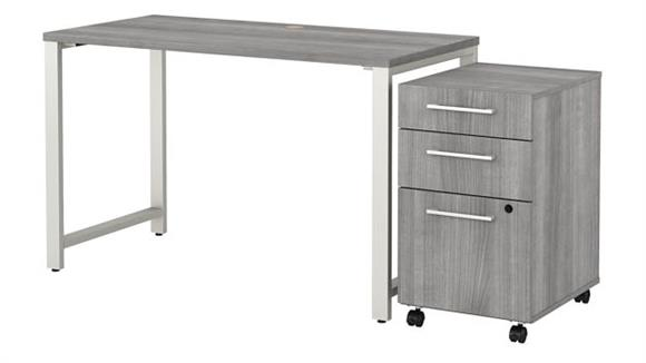 """Computer Tables Bush Furniture 48"""" W x 24"""" D Table Desk with 3 Drawer Mobile File Cabinet"""
