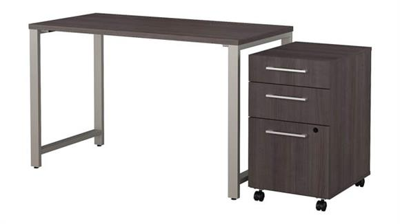 "Computer Tables Bush Furniture 48""W x 24""D Table Desk with 3 Drawer Mobile File Cabinet"