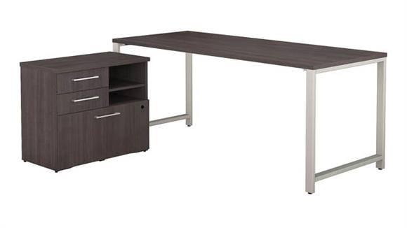 "Computer Tables Bush Furniture 72""W x 30""D Table Desk with Piler File Cabinet"
