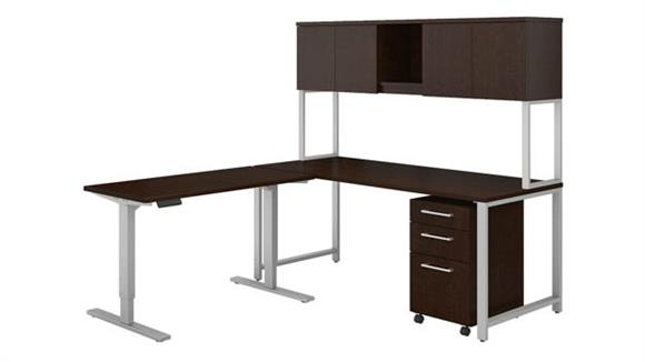 "Computer Desks Bush Furniture 72""W L Shaped Desk with Height Adjustable Return, Hutch and Storage"