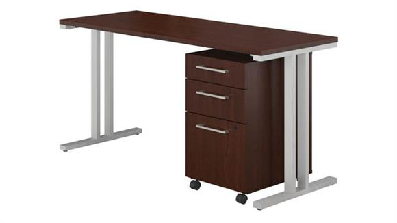 "Computer Desks Bush Furniture 48""W x 24""D Table Desk with 3 Drawer Mobile File Cabinet"
