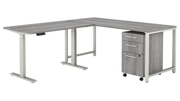 """Adjustable Height Desks & Tables Bush Furniture 72"""" W L-Shaped Desk with Height Adjustable Return and 3 Drawer Mobile File Cabinet"""