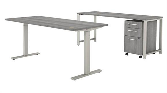 """Adjustable Height Desks & Tables Bush Furniture 72"""" W x 30"""" D Height Adjustable Standing Desk with 72"""" W Credenza and 3 Drawer Mobile File Cabinet"""