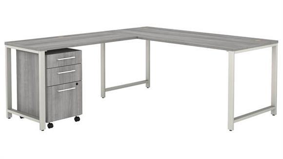 """L Shaped Desks Bush Furniture 72"""" W x 78"""" D  L-Shaped Desk, Return and 3 Drawer Mobile File Cabinet"""