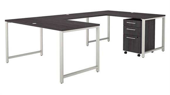 """U Shaped Desks Bush Furniture 60"""" W U-Shaped Desk with 3 Drawer Mobile File Cabinet"""