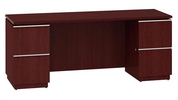 "Office Credenzas Bush Furniture 72"" Double Pedestal Kneespace Credenza"