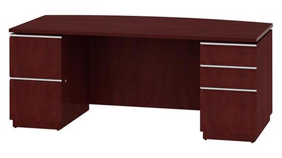 """Executive Desks Bush Furniture 72"""" Double Pedestal Bow Front Desk"""