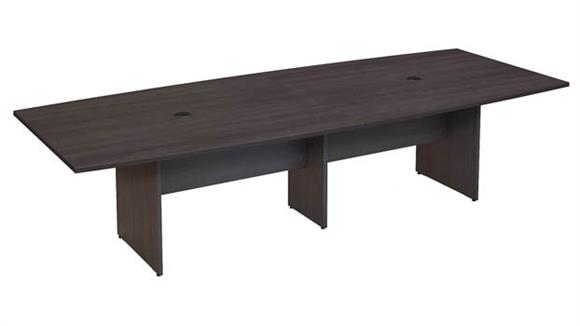 "Conference Tables Bush Furniture 120""W x 48""D Boat Shaped Conference Table with Wood Base"