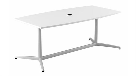"""Conference Tables Bush Furniture 72""""W x 36""""D Boat Shaped Conference Table with Metal Base"""