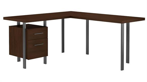 "L Shaped Desks Bush Furniture 60""W L-Shaped Desk with Drawers"