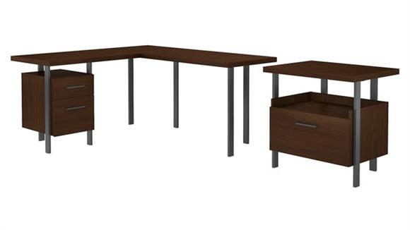 "L Shaped Desks Bush Furniture 60""W L-Shaped Desk with Lateral File Cabinet"