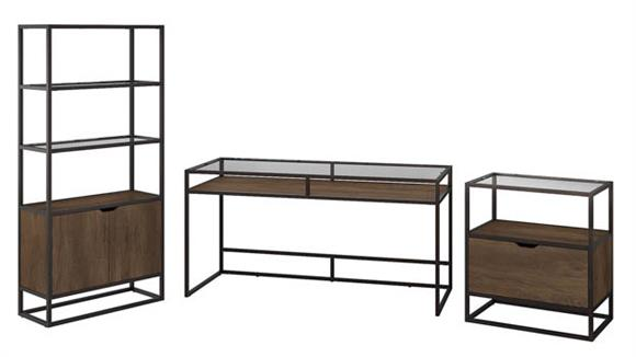 """Writing Desks Bush Furniture 60"""" W Glass Top Writing Desk with Bookcase and Lateral File Cabinet"""