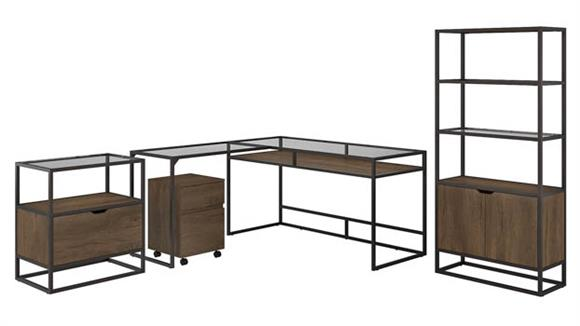 """L Shaped Desks Bush Furniture 60"""" W Glass Top L-Shaped Desk with Bookcase and Lateral File Cabinet and Mobile File Cabinet"""