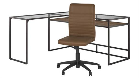 """L Shaped Desks Bush Furniture 60"""" W Glass Top L-Shaped Desk with Mid Back Ribbed Leather Office Chair"""