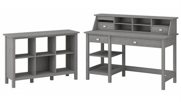 "Computer Desks Bush Furniture 54"" W Computer Desk with Shelves, Desktop Organizer and 6 Cube Bookcase"