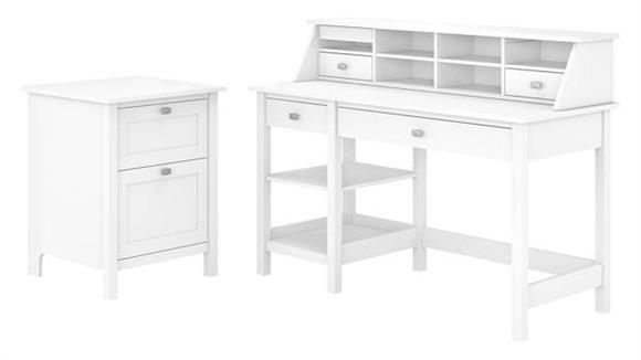 Computer Desks Bush Furniture Computer Desk with Open Storage, Organizer and File Cabinet