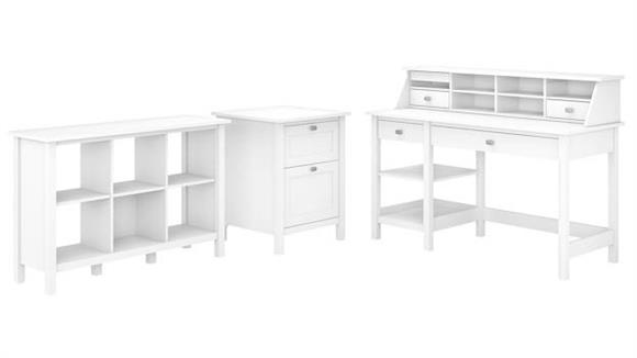 Computer Desks Bush Furniture Computer Desk with Open Storage, Organizer, Bookcase and File Cabinet