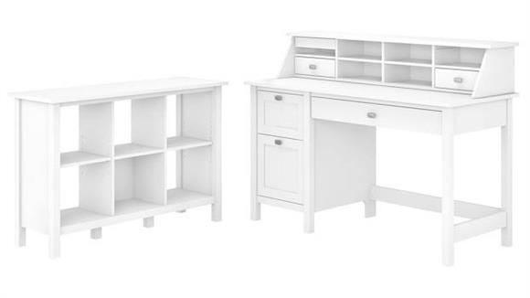 Computer Desks Bush Furniture Computer Desk with Pedestal, Bookcase and Organizer