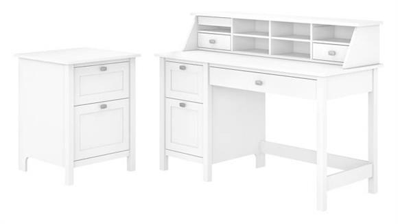 Computer Desks Bush Furniture Computer Desk with Pedestal, Organizer and File Cabinet
