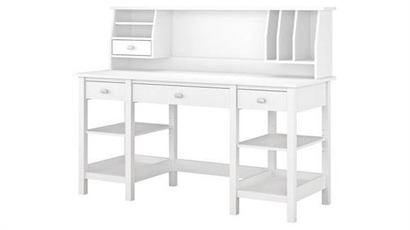 "Computer Desks Bush Furniture 60""W Desk with Storage Shelves and Small Hutch Organizer"