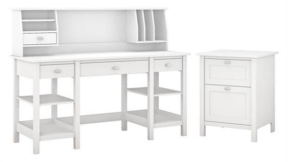 "Computer Desks Bush Furniture 60""W Desk with Storage Shelves, Small Hutch Organizer and Vertical File Cabinet"