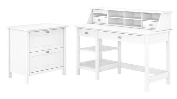 "Computer Desks Bush Furniture 54"" W Computer Desk with Shelves, Desktop Organizer and Lateral File Cabinet"