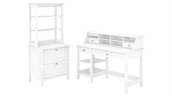 "Computer Desks Bush Furniture 54"" W Computer Desk with Shelves, Desktop Organizer, Lateral File Cabinet and Hutch"