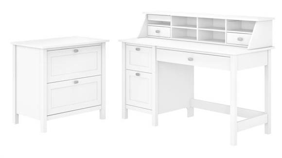 "Computer Desks Bush Furniture 54"" W Computer Desk with Drawers, Desktop Organizer and Lateral File Cabinet"