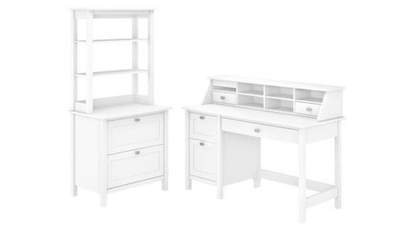"Computer Desks Bush Furniture 54"" W Computer Desk with Drawers, Desktop Organizer, Lateral File Cabinet and Hutch"