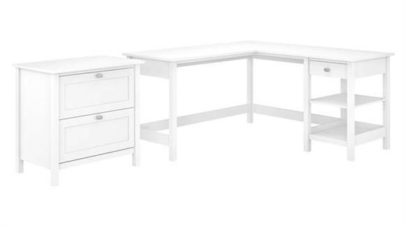 "L Shaped Desks Bush Furniture 60"" W L-Shaped Computer Desk with 2 Drawer Lateral File Cabinet"