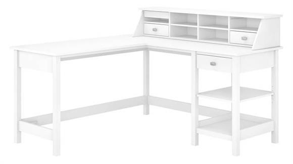 "L Shaped Desks Bush Furniture 60"" W L-Shaped Computer Desk with Desktop Organizer"