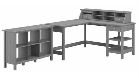 "Computer Desks Bush Furniture 60"" W L-Shaped Computer Desk with Desktop Organizer and 6 Cube Bookcase"