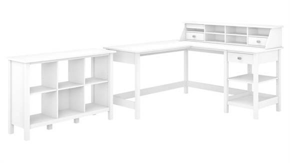 "L Shaped Desks Bush Furniture 60"" W L-Shaped Computer Desk with Desktop Organizer and 6 Cube Bookcase"