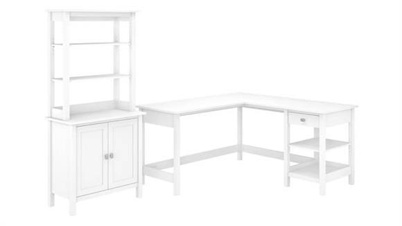 "L Shaped Desks Bush Furniture 60"" W L-Shaped Computer Desk with Accent Storage Cabinet and Hutch"