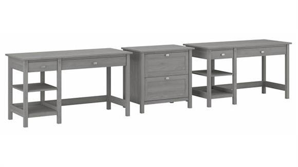 Computer Desks Bush Furniture 2 Person Desk Set with 1 Lateral File Cabinet