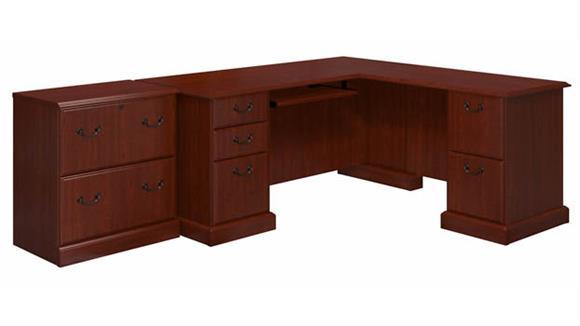 L Shaped Desks Bush Furniture L-Shaped Desk and Lateral File Cabinet