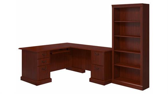 L Shaped Desks Bush Furniture L-Shaped Desk and Bookcase
