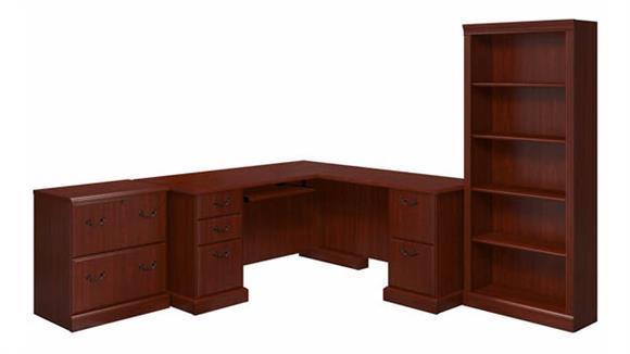 L Shaped Desks Bush Furniture L-Shaped Desk, Lateral File Cabinet and Bookcase