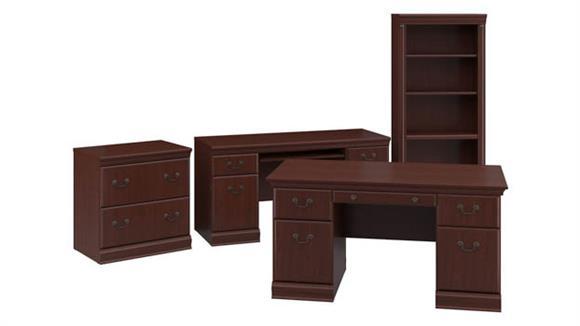 """Executive Desks Bush Furniture 60""""W Executive Desk, Credenza, Lateral File Cabinet and 5 Shelf Bookcase"""