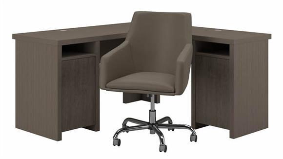 L Shaped Desks Bush Furniture L-Shaped Computer Desk and Chair Set