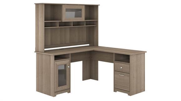 "L Shaped Desks Bush Furniture 60"" W L-Shaped Computer Desk with Hutch"