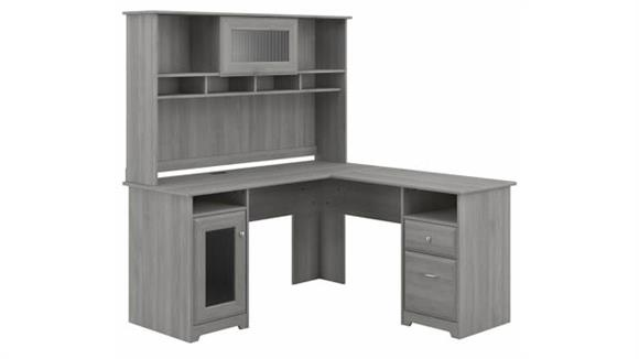 "L Shaped Desks Bush Furniture 60""W L-Shaped Computer Desk with Hutch"