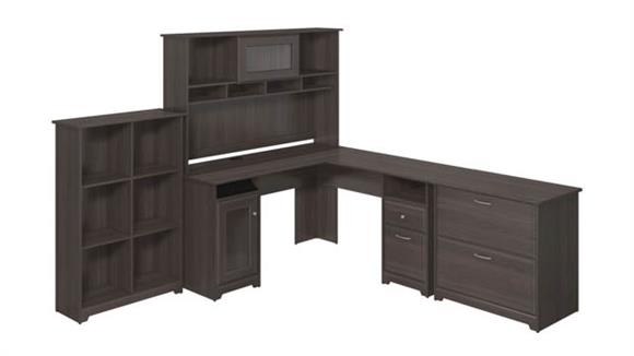 L Shaped Desks Bush Furniture L Shaped Desk and Hutch with Lateral File and Bookcase