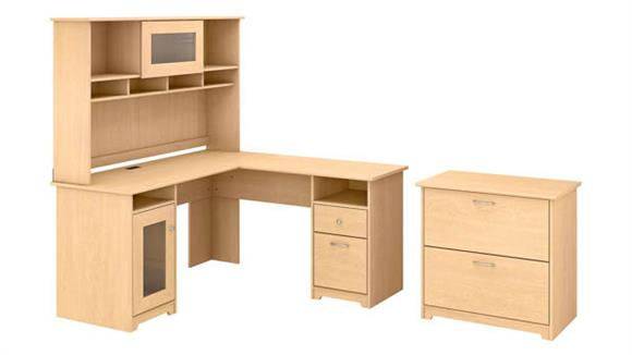 """L Shaped Desks Bush Furniture 60"""" W L-Shaped Computer Desk with Hutch and Lateral File"""