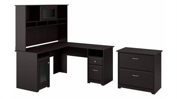 """L Shaped Desks Bush Furniture 60""""W L-Shaped Desk with Hutch and Lateral File"""
