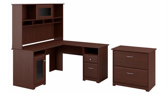 """L Shaped Desks Bush Furniture 60"""" W L-Shaped Computer Desk with Hutch and Lateral File Cabinet"""