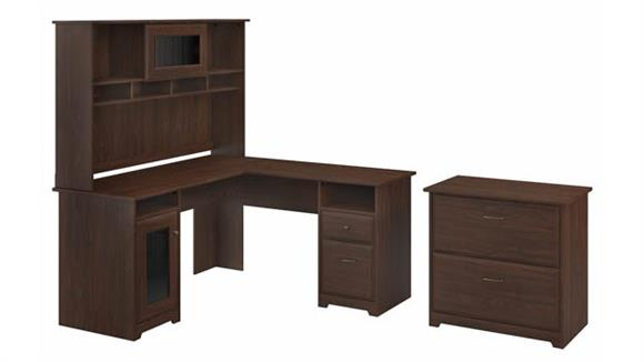 """L Shaped Desks Bush Furniture 60""""W L-Shaped Computer Desk with Hutch and Lateral File Cabinet"""