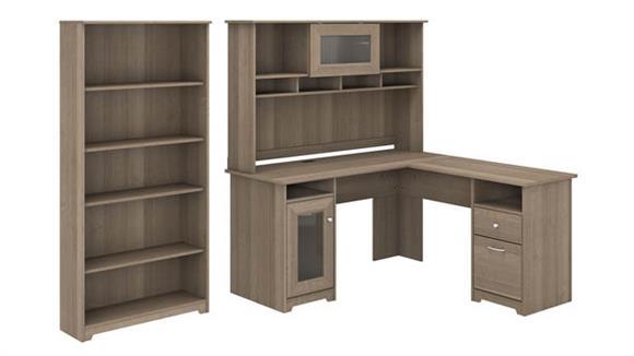 "L Shaped Desks Bush Furniture 60"" W L-Shaped Computer Desk with Hutch and 5 Shelf Bookcase"