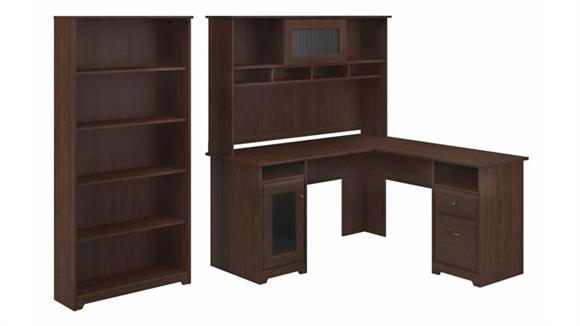 "L Shaped Desks Bush Furniture 60""W L-Shaped Computer Desk with Hutch and 5 Shelf Bookcase"